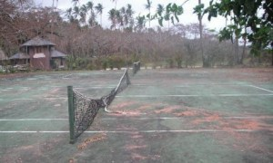 Playing tennis with the net down