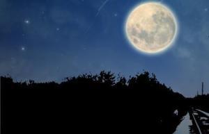 Train and full moon