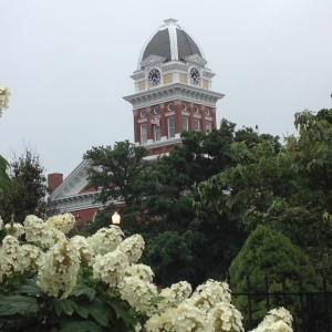 The Saline County Courthouse looms above the square in Marshall, Missouri