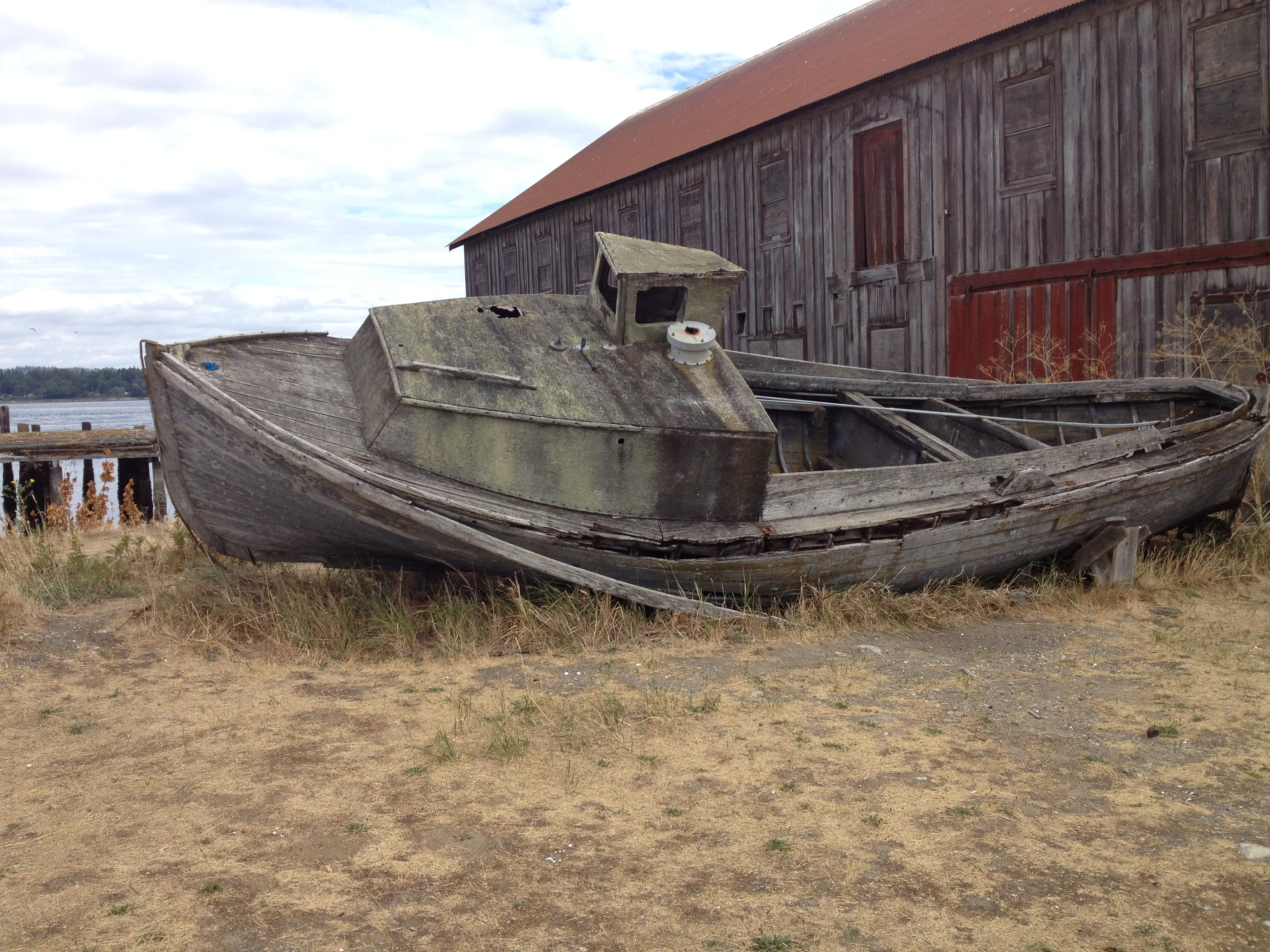 Dry grass, abandoned boat, and old shed